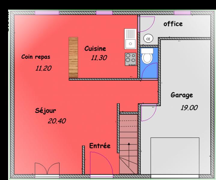 plan de maison 54m2